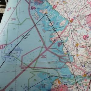 ICAO-Karte mit Route über die Nordsee © Christ/Chavarria