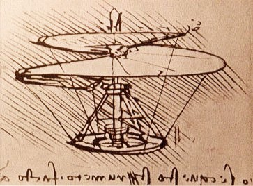 Leonardo da Vinci: Entwurf eines Helikopters https://commons.wikimedia.org/wiki/File:Leonardo_da_Vinci_helicopter.jpg