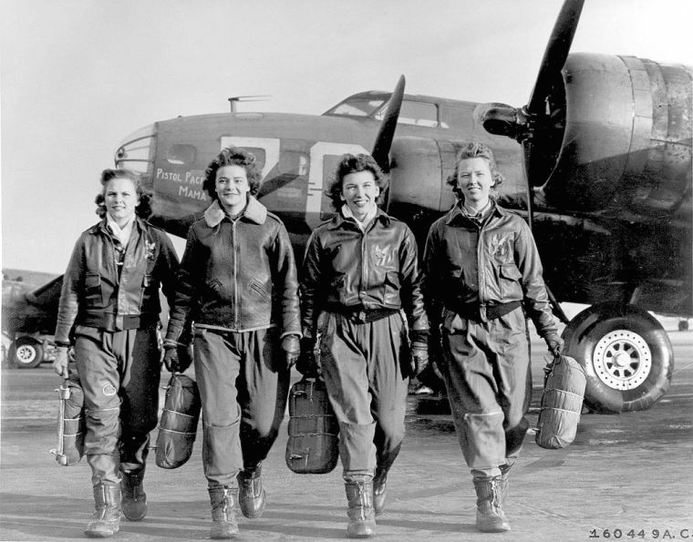 These four female pilots leaving their ship, Pistol Packin' Mama, at the four engine school at Lockbourne AAF, Ohio, are members of a group of Women Airforce Service Pilots (WASPS) who have been trained to ferry the B-17 Flying Fortresses. L to R are Frances Green, Margaret (Peg) Kirchner, Ann Waldner and Blanche Osborn. http://www.302aw.afrc.af.mil/news/story.asp?id=123117795