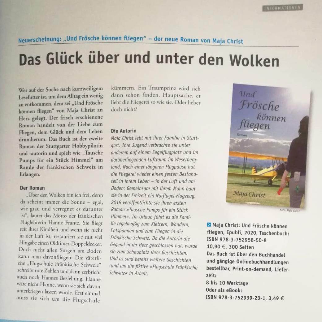 """Buchvorstellung """"Und Frösche können fliegen"""" im DULV-Magazin 4/20"""