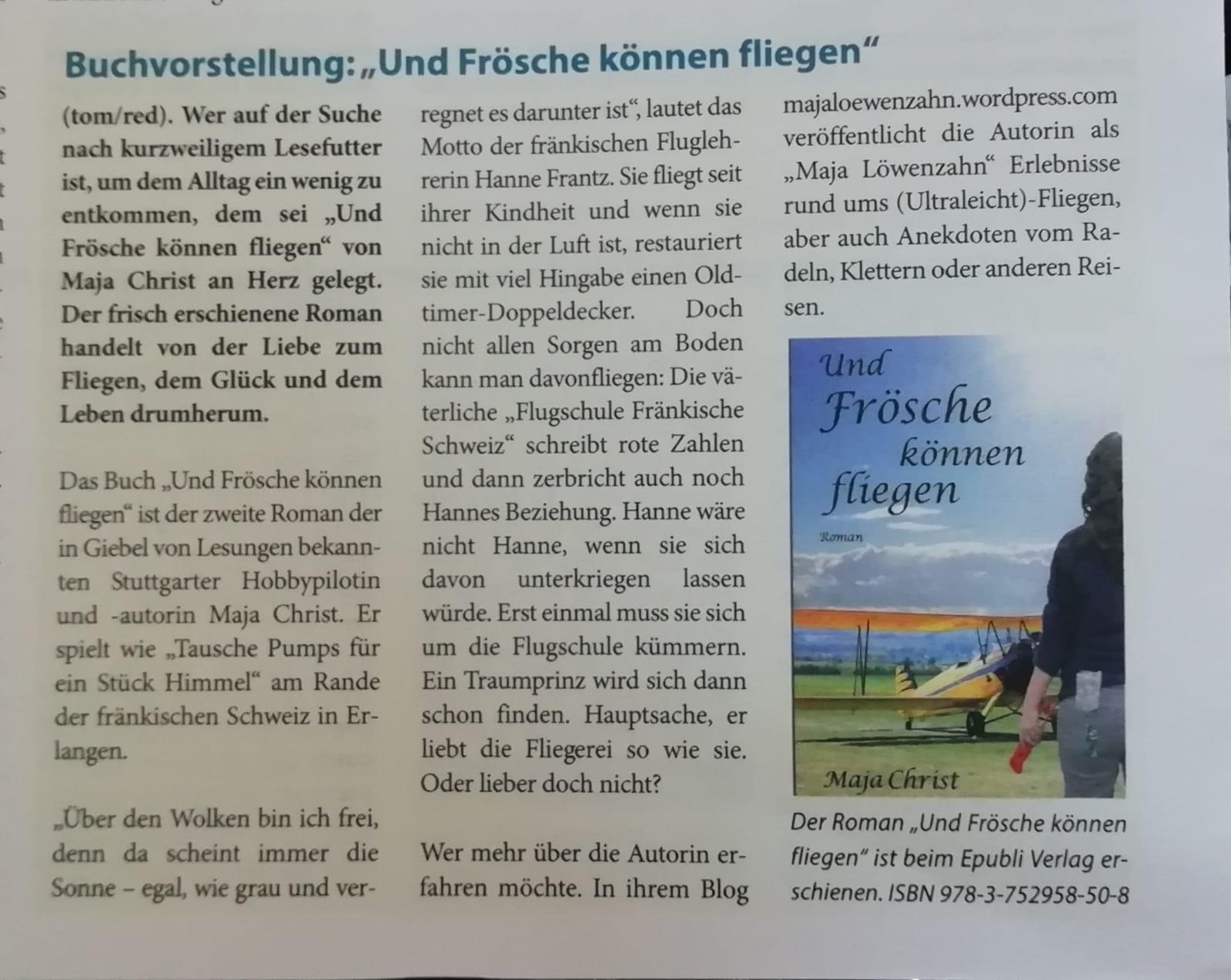 """Buchvorstellung """"Und Frösche können fliegen"""" in """"In und Um Weilimdorf"""" 2020"""