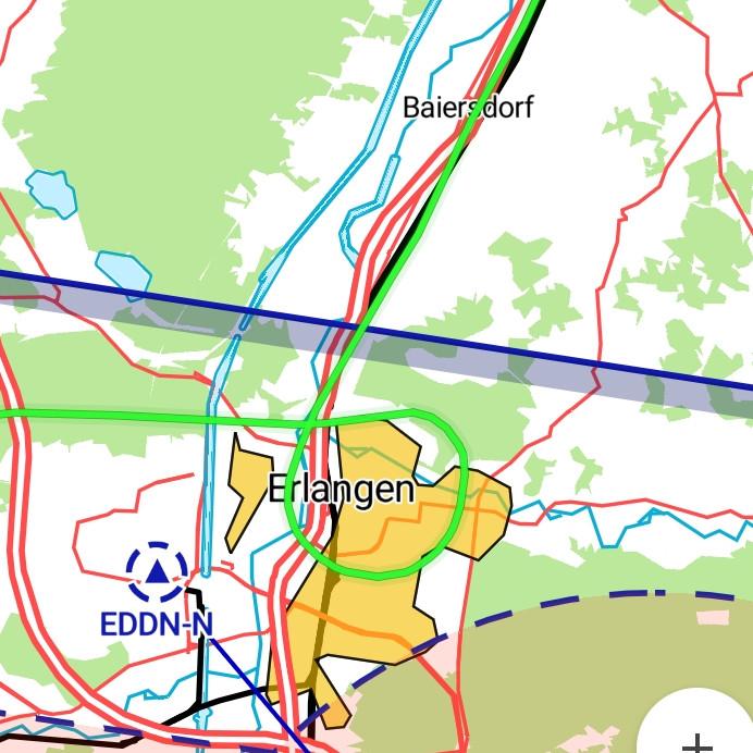 Unsere Route über die Erlangen [Screenshot von VFRnav]