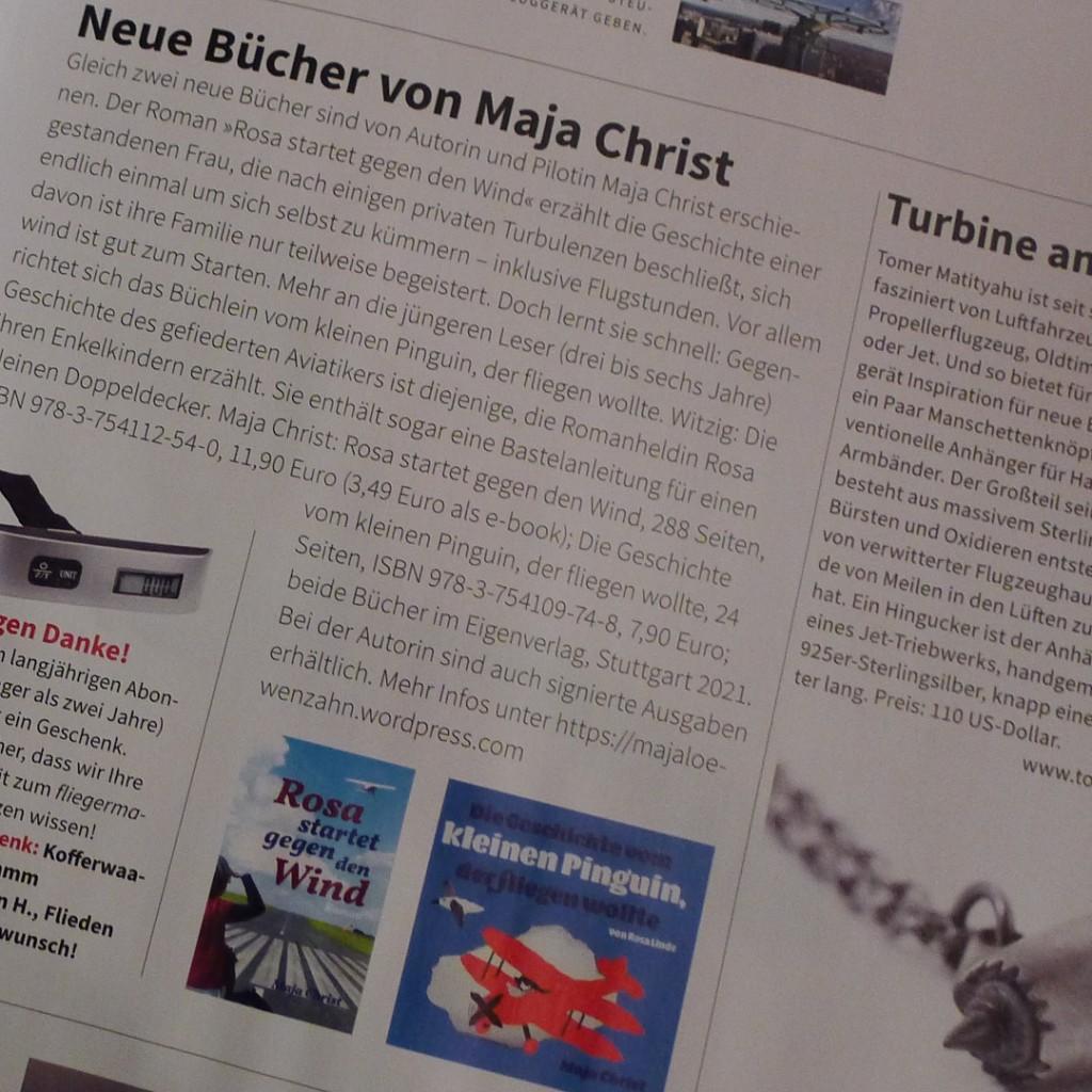 Hinweis auf meine Rosa im Fliegermagazin © Maja Christ